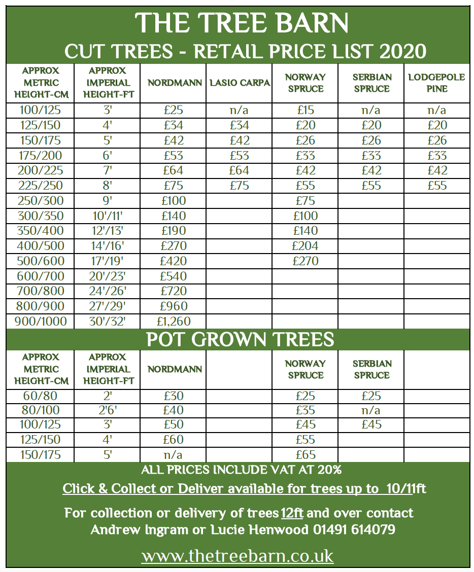 The Tree Barn Price List