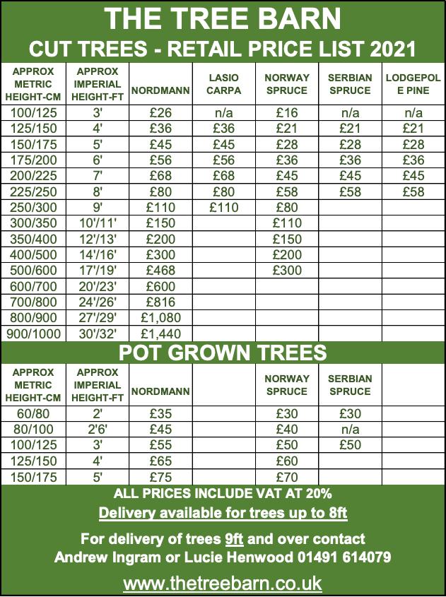 The Tree Barn Price List